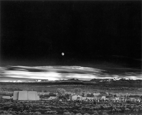 moonrise over hernandez by Ansel Adams