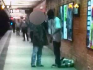 Still from video fotage filmed of the confrontation before Mr Han was pushed onto the tracks.