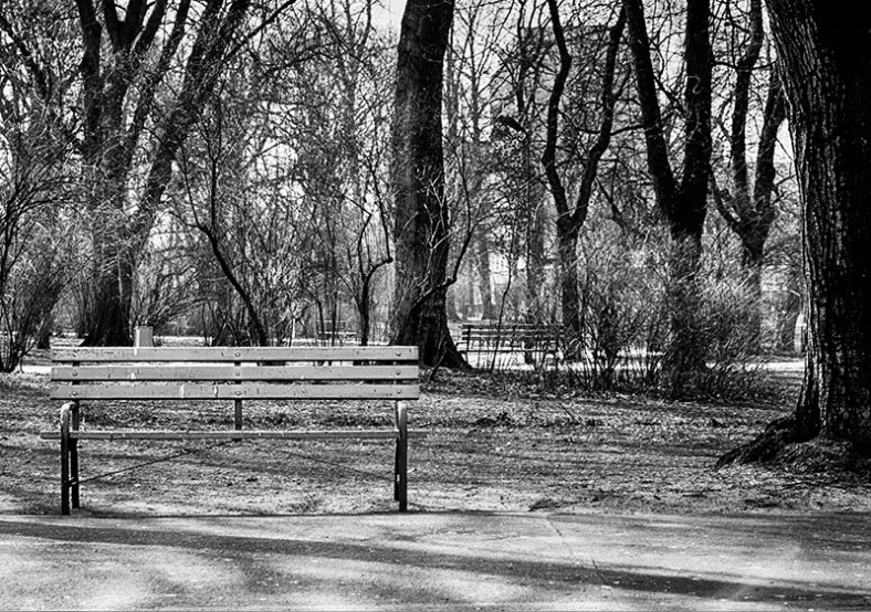 lone-bench-black-and-white