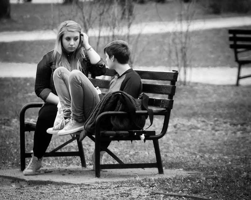 Talking In The Park Bw