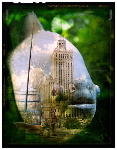 Double-exposed-fish-and-palace-of-culture