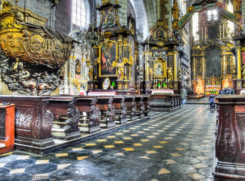 HDR in churches usually works quite well, but you can see in this image that people were walking and praying which has created ghosts in the image.