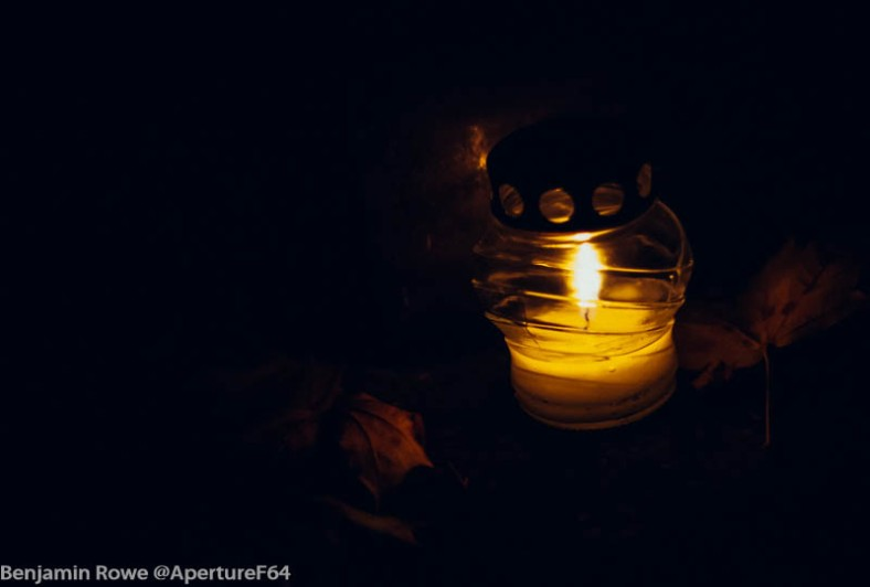 Candle with leaves